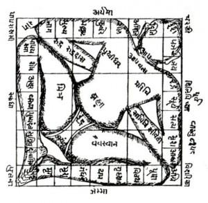 Vastu Purusha Mandale mit Nordost-Ausrichtung des Kopfes