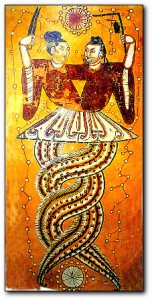 Das göttliche Urpaar Nu-Wa und Fu Xi