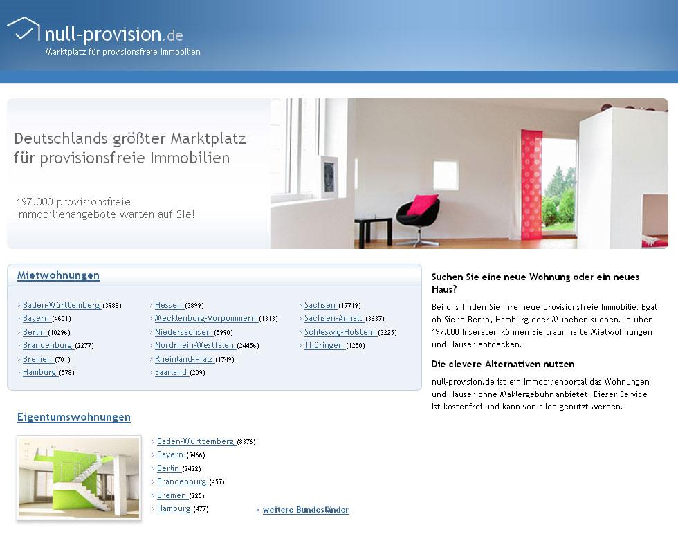 Provisionsfreie Wohnungen finden mit null-provision.de