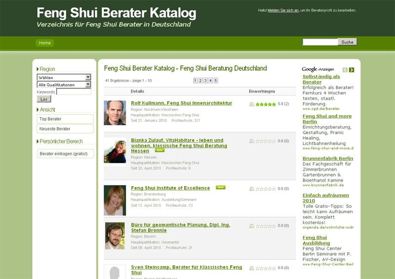 Qualitätsoffensive: Der Feng Shui Berater Katalog