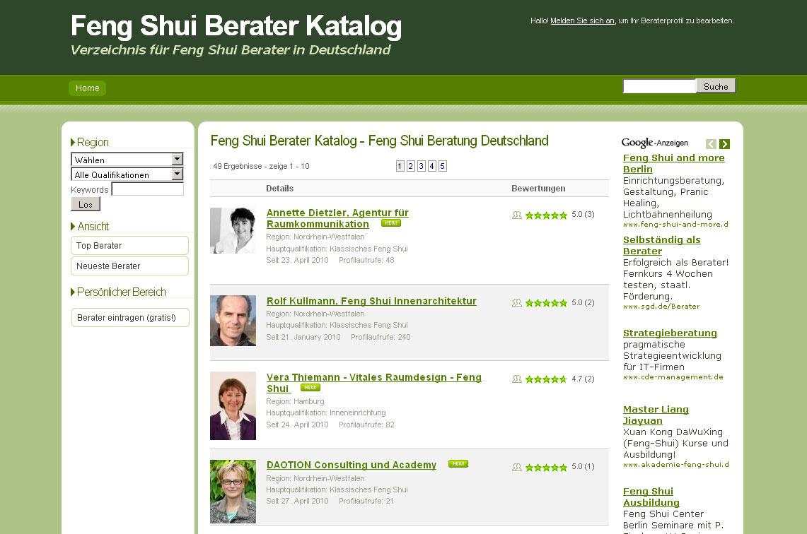 Berater finden über die Everyday Feng Shui Suche