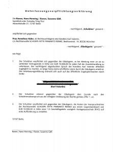 Unterlassungsverpflichtungserklärung gegenüber Frau Anneliese Kühn
