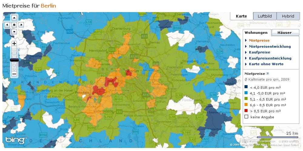 Immobilien-Mietpreise in Berlin