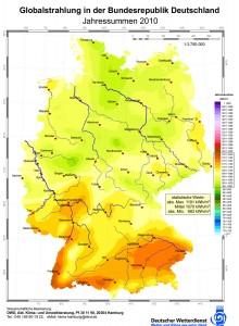 Verteilung der durchschnittlichen Sonneneinstrahlung (Globalstrahlung) in Deutschland 2010 in kWh/m²