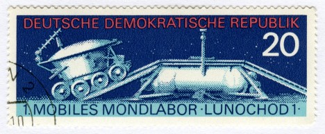 Briefmarke mit Abbildung des mobilen Mondlabors Lunochod 1