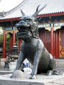 Bronze-Qilin im Sommerpalast in Peking