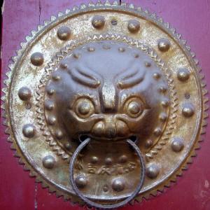 Qilin-Türknauf im Lamatempel (Yonghe Gong) in Peking