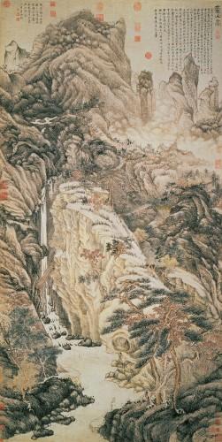 """""""Lofty Mount Lu"""", Shan Shui Gemälde aus der Ming-Dynastie: Tinte und Farbe auf Papier, Shen Zhou (1427 - 1509)"""