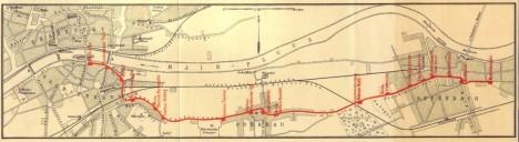 Linienplan der Frankfurt-Offenbacher Trambahn-Gesellschaft aus dem Jahre 1885