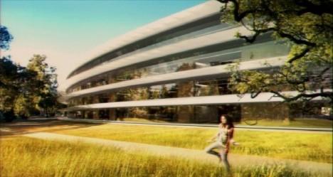 Gewölbte Fassade des geplanten vierstöckigen Apple-Hauptquartiers