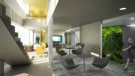 Feng Shui Konzept für die Umgestaltung der Microsoft Firmenzentrale in Wien: Büroräume mit vertikalen Mini-Gärten verwandeln sich in regelrechte Wohlfühloasen