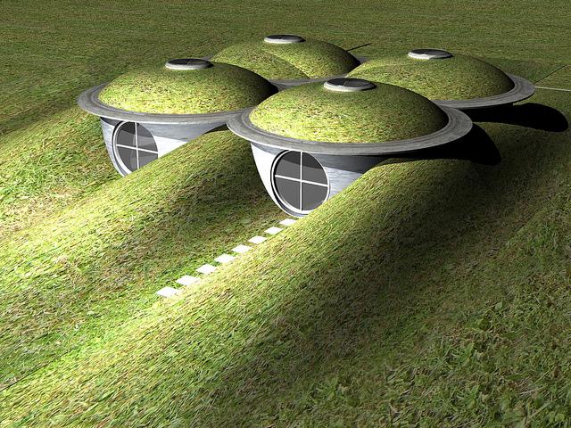 """Dieses visionäre """"SubHouse"""" wurde mit 4 standardisierten Betonwassertanks konzipiert, jedes """"Zimmer"""" misst 3,4m im Durchmesser und ist 2,7m hoch. (Foto und Entwurf: Mr Thinktank)"""