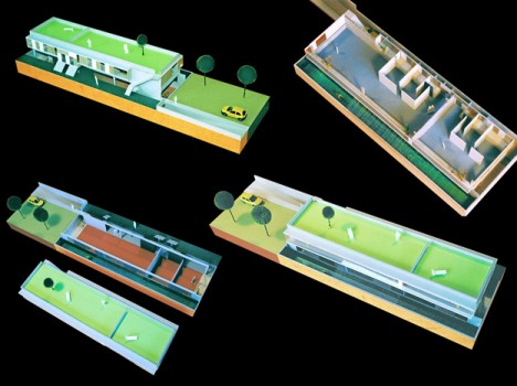 Gründach-Ökohaus mit einer größeren und einer kleineren Wohnung. Die unteridischen Arbeitsräume werden über Gräben belichtet. (Entwurf und Modellfotos: © Irmgard Brottrager)