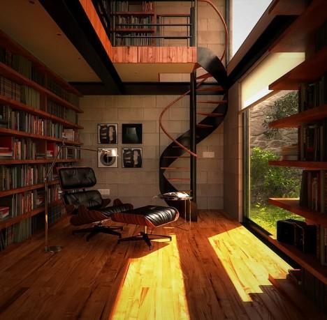 Hausbibliothek über zwei Etagen mit Blick auf den Garten