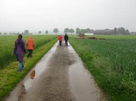 Vor-Ort-Begehung des Geländes Wohngebiet Mertingen Süd durch die Planungspartner