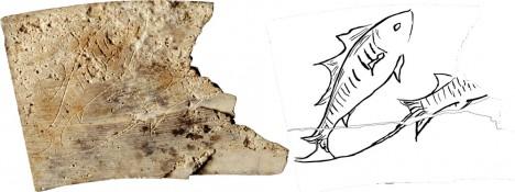 """Dieses Tierkreistafel-Fragment zeigt das Zeichen """"Fische"""""""