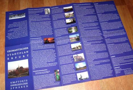 Auf der Rückseite des Stadtplans: Die geomantische Beschreibung Erfurts mit vielen zusätzlichen Infos, wie man Geomantie entdecken und erlernen kann