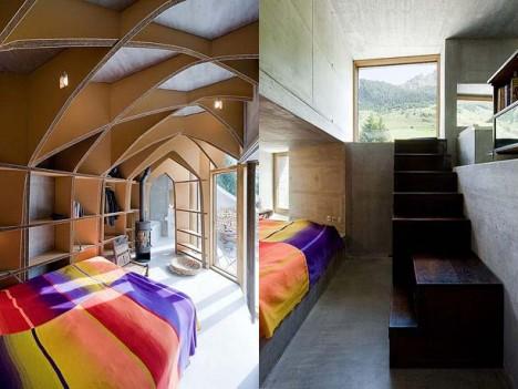 Ein beinah sakrales Element: Das Holzgewölbe im ersten Stock