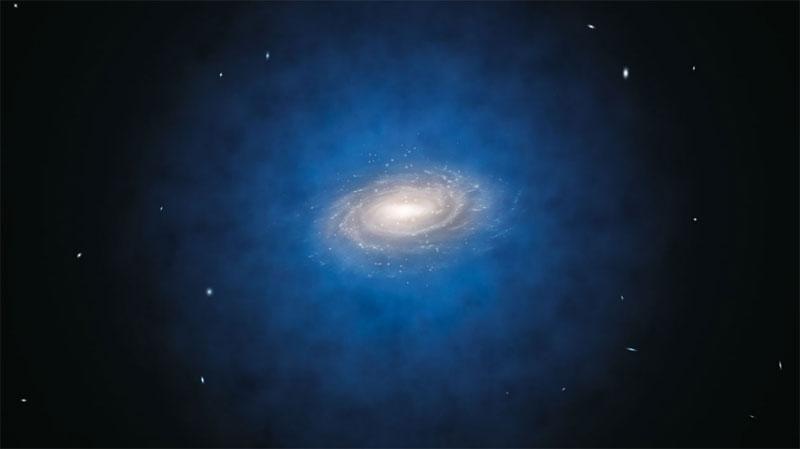 Künstlerische Darstellung der erwarteten Verteilung der Dunklen Materie um die Milchstraße