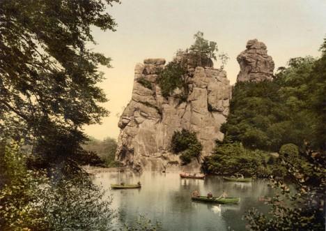 Kraftort Externstein: Historische Postkarte um 1900