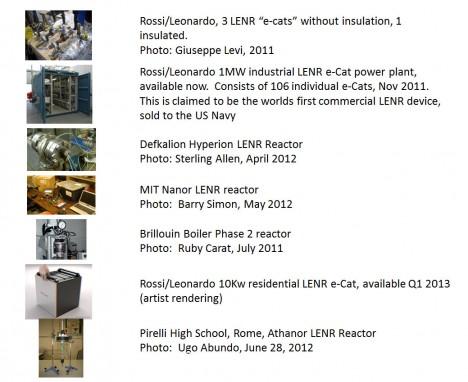 Abbildungen von LENR-Reaktoren, die seit 2011 entwickelt wurden