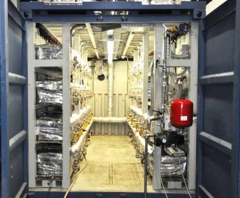 Unspektakulär: Blick in das Innere eines 1MW-E-CAT