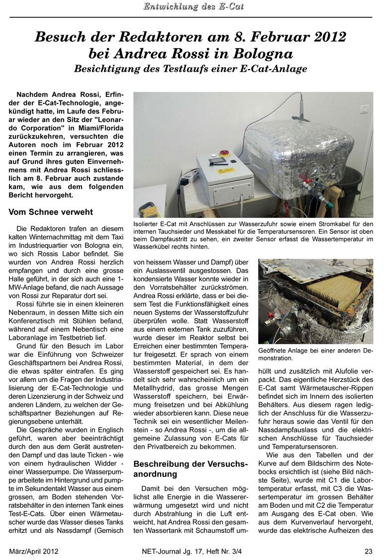 Bericht: Besichtigung des Testlaufs einer E-Cat-Anlage im Februar 2012 - Bild 1