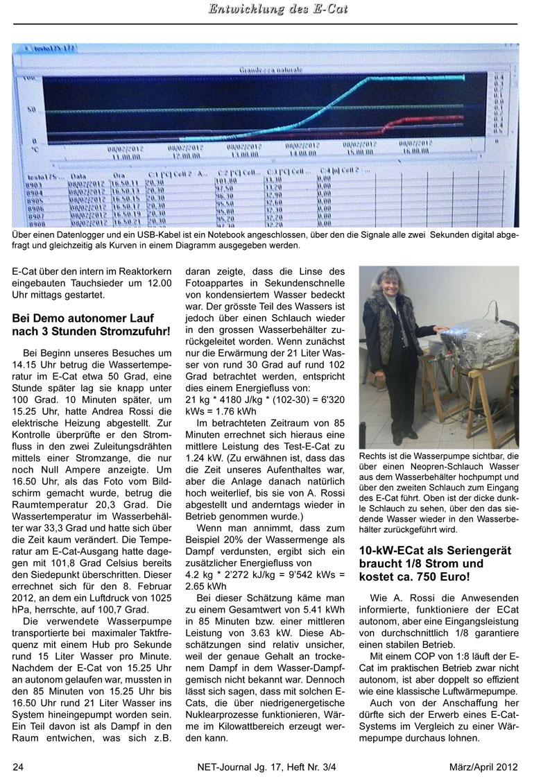 Bericht: Besichtigung des Testlaufs einer E-Cat-Anlage im Februar 2012 - Bild 2