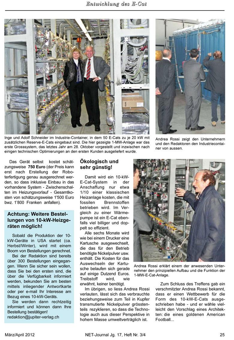 Bericht: Besichtigung des Testlaufs einer E-Cat-Anlage im Februar 2012