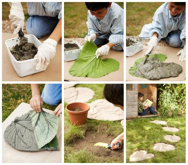Gartenweg kreativ gestalten steinplatten mit blattmuster for Wohnung kreativ gestalten