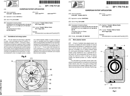 Patentanmeldungen von Mehran Tavakoli Keshe: Plasma-Reaktoren
