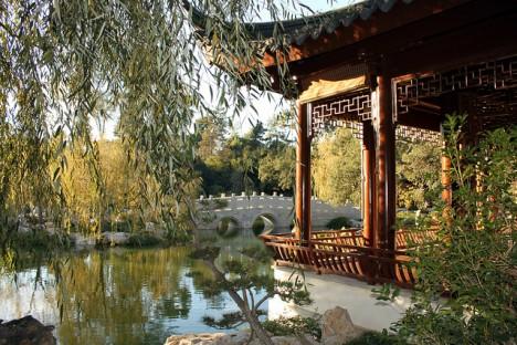 Klassisch chinesische Gärten wie hier im botanischen Garten von Pasadena, Kalifornien, sind perfekt harmonisch gestaltet und in die Umgebung eingebettet