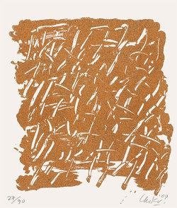 Grafik mit Sand-Textur von Günther Uecker, Foto: www.kunsthaus-artes.de/