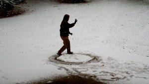 Baguazhang-Übung im Schnee