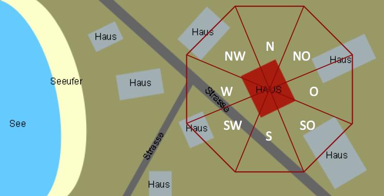 Ortsqualitäten bestimmen mit der Methode der Fliegenden Sterne: Für eine Auswertung der Lage reicht eine ungefähre Skizze aus. Diese kann man zum Beispiel anhand einer Satellitenaufnahme erstellen.