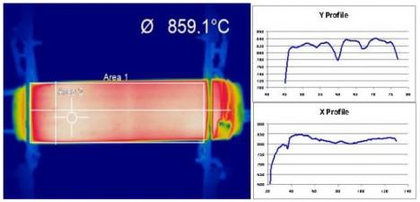 """Der """"Hot E-Cat"""" während eines Tests im November 2012 betrachtet durch eine Wärmebildkamera: Innerhalb des Fadenkreuzes werden gerade 859,1°C erreicht"""