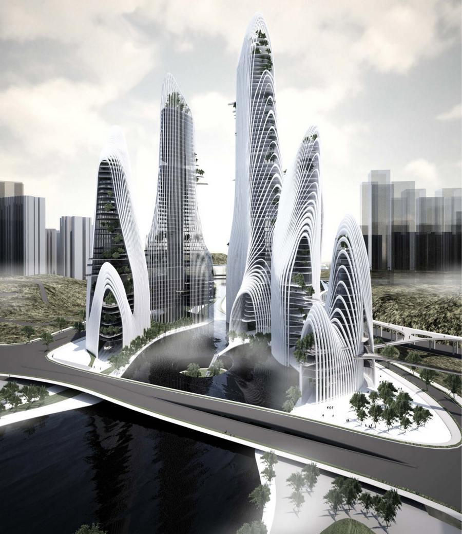 Shan Shui City ist eine Symbiose aus Tradition, postmodernem Bauen und Natur