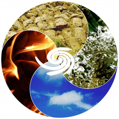 Die 4 Elemente Feuer, Wasser, Luft und Erde, Grafik (C) Irmgard Brottrager