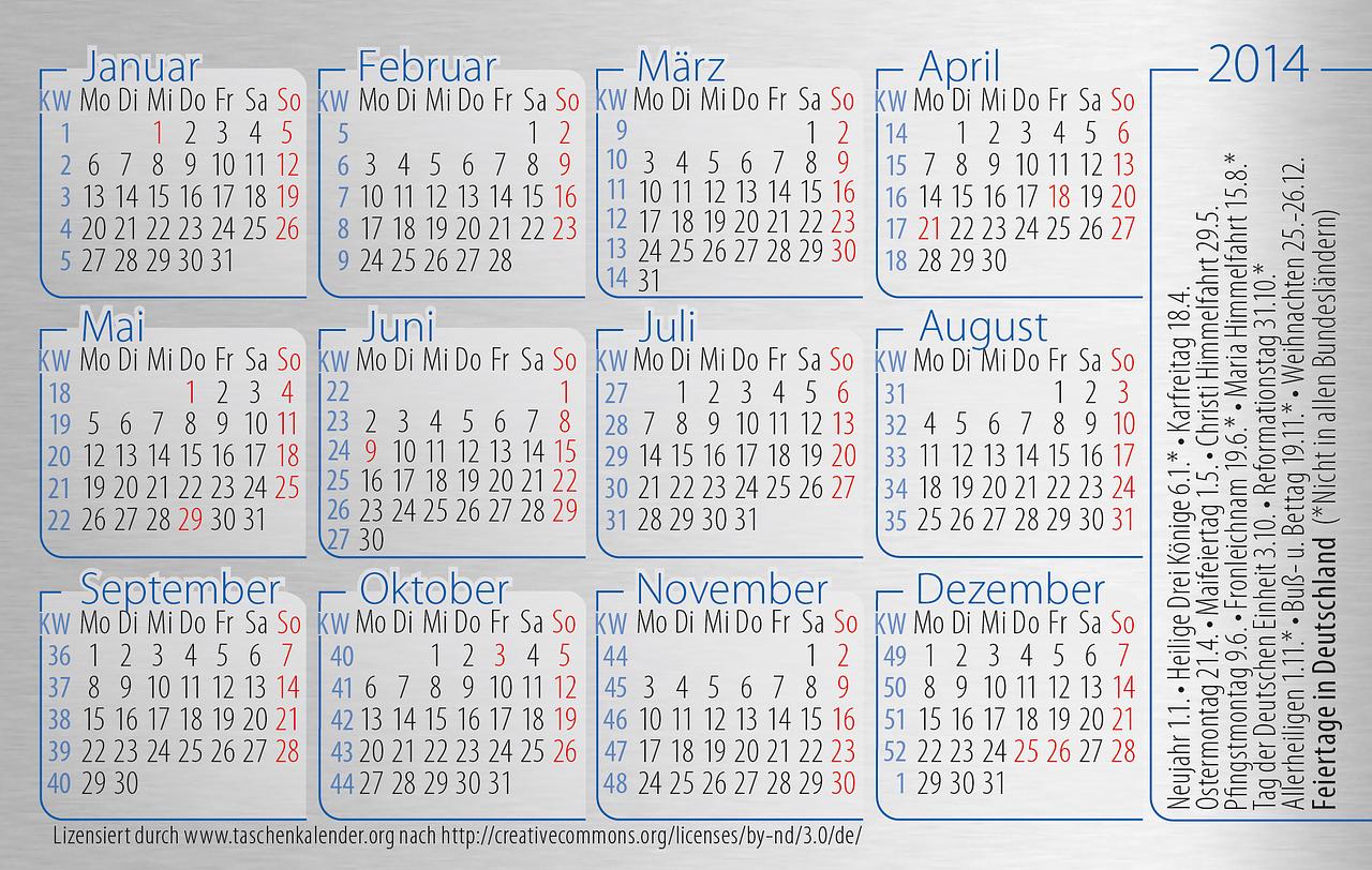 Welches Datum ist das richtige für mein Vorhaben?  Foto: Public Domain via http://pixabay.com/en/pocket-calendar-calendar-card-200930/