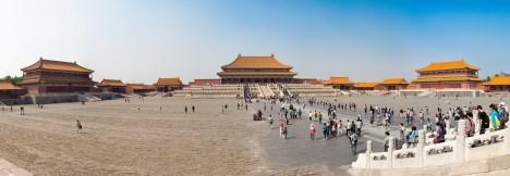 Panorama-Aufnahme der Verbotenen Stadt in Peking, China