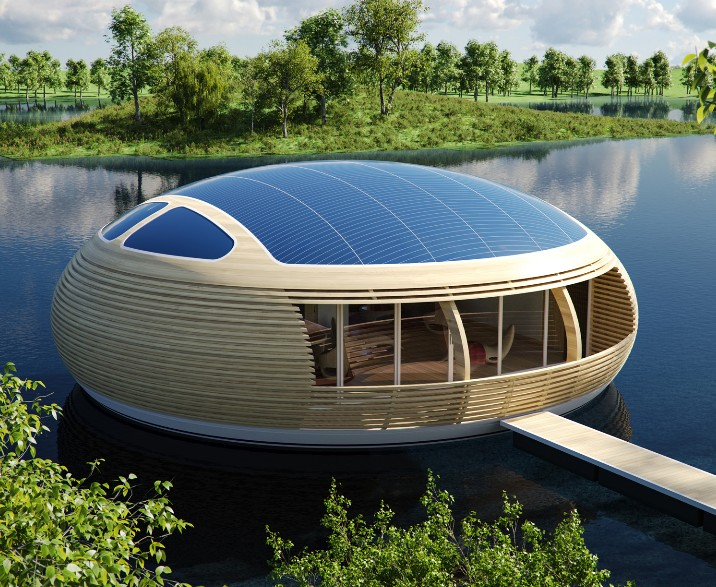 """Waternest 100 - ein modernes """"Floating House"""" der Firma EcoFloLife"""