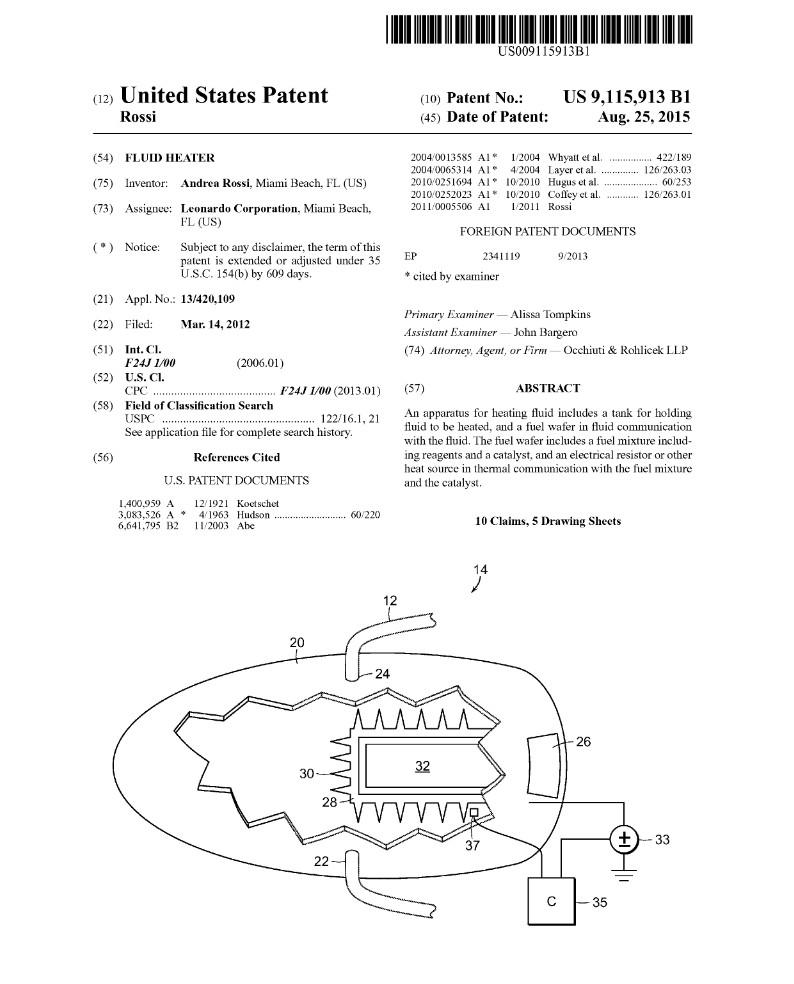 """Andrea Rossis Patentschrift für den """"Fluid Heater"""" (E-Cat)"""