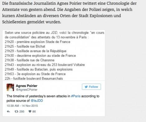 Twitter-Nachricht zu den Pariser Ereingissen von Agnes Poirier