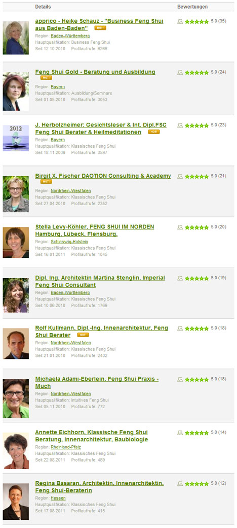 Deutschlands beste Feng Shui Berater 2011